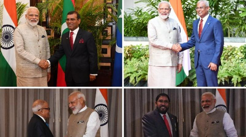 PM Modi arrived in the Maldives on Saturday and received a ceremonial welcome at the Republic Square in Male. (Photo: ANI)