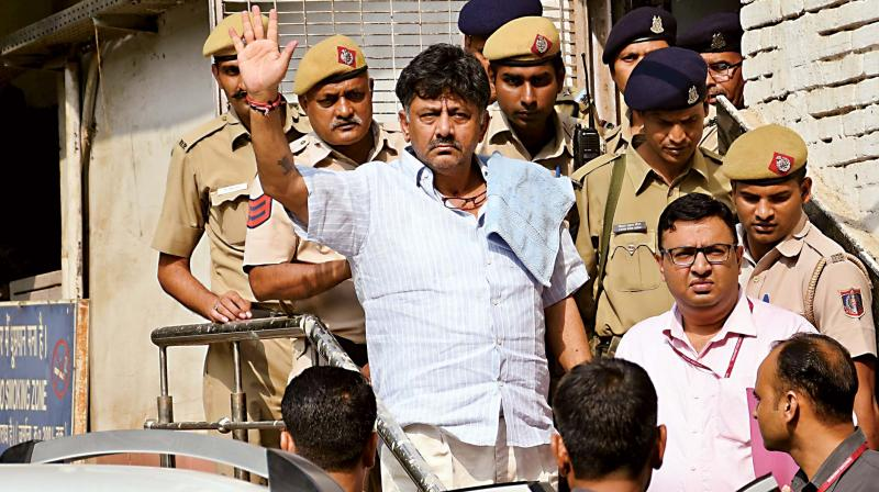Congress senior leader D.K. Shivakumar at RML Hospital while leaving for Rouse Avenue Court In Delhi on Tuesday (Photo: AP)