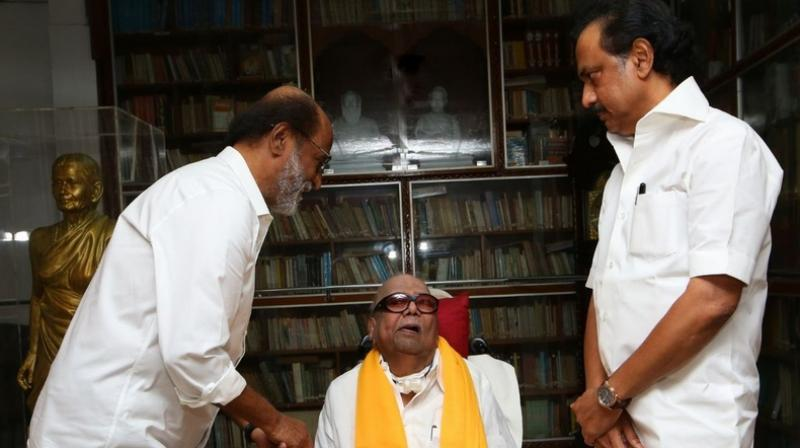 Rajinikanth met DMK chief M Karunanidhi at his residence in Chennai; DMK Working President MK Stalin was also present. (Photo: ANI | Twitter)
