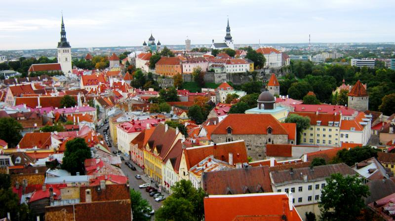 An aerial view of the city of Vana Tallinn, Estonia, abundant with elegant medieval structures. (Photo: Jayesh Ganesh)