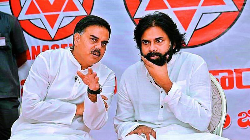 Jana Sena chief Pawan Kalyan with Nadendla Manohar in Vizag on Saturday. (Photo: DC)