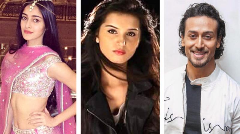 Tara Sutaria, Tiger Shroff and Ananya Pandey in a photoshoot.