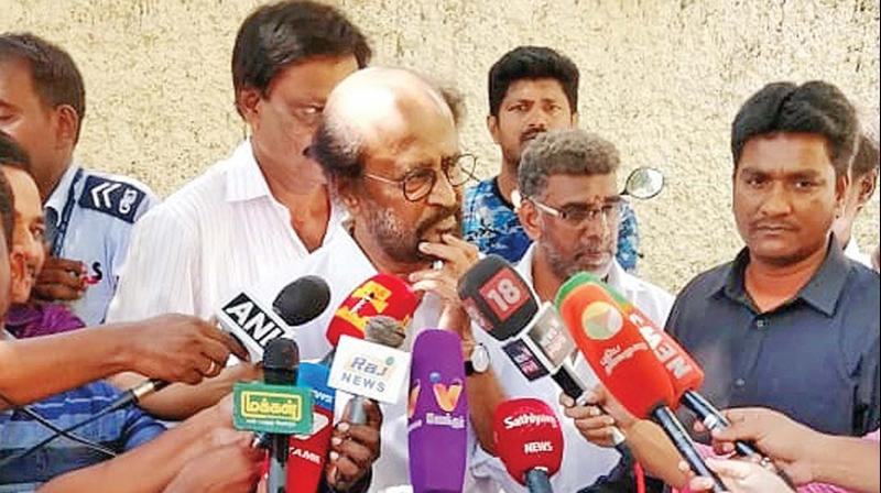 Superstar Rajinikanth at the media interaction outside his Poes Garden bungalow on Friday. (Photo: DC)