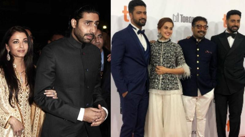 Abhishek Bachchan with then girlfriend Aishwarya Rai at TIFF for 'Guru' premiere in 2006; with 'Manmarziyaan' team members Vicky Kaushal, Anurag Kashyap and Taapsee Pannu on Tuesday.