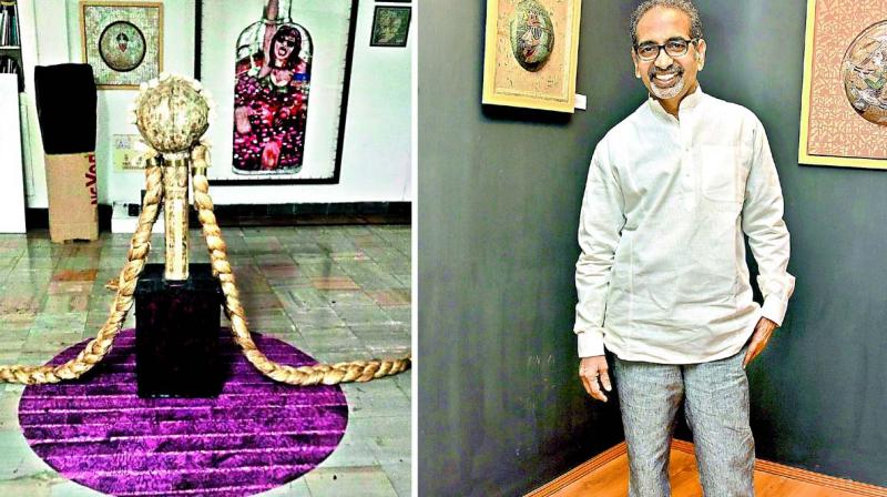 Artist A. Rajeshawar Rao's work reflects a social message and is about 'Beti Bachao'. His mixed media work in jute, paper and pulp depicts long plaited  hairdo which is rare to find nowadays.