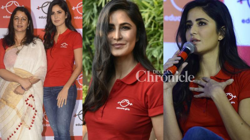 Katrina Kaif was unveiled as the brand ambassador of Educate Girls NGO at an event in Mumbai on Monday. (Photo: Viral Bhayani)