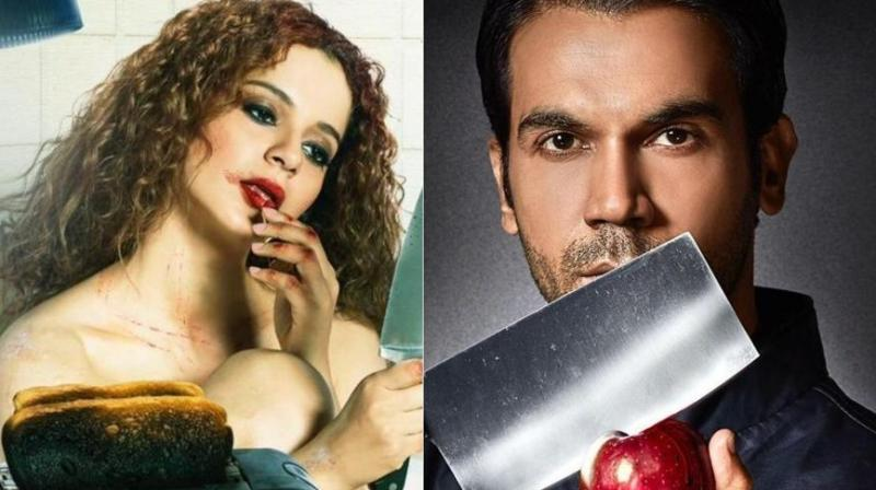 Kangana Ranaut and Rajkummar Rao in posters of 'Mental Hai Kya?'