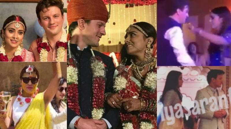 Screengrabs from the pictures and videos of Shriya Saran's wedding.