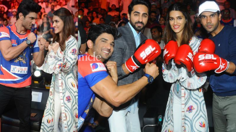 Kriti Sanon supported rumoured boyfriend Sushant Singh Rajput's team Delhi Gladiators in the Super Boxing League and also got his 'Bareilly Ki Barfi' co-stars Ayushmann Khurrana and Rajkummar Rao along to Delhi on Saturday. (Photo: Viral Bhayani)