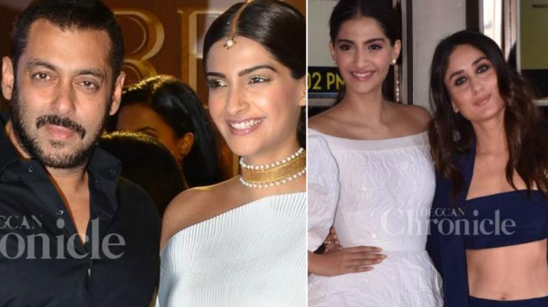 Salman Khan with Sonam Kapoor at 'Prem Ratan Dhan Payo' promotions; Sonam and Kareena Kapoor Khan unveil 'Veere Di Wedding' trailer.