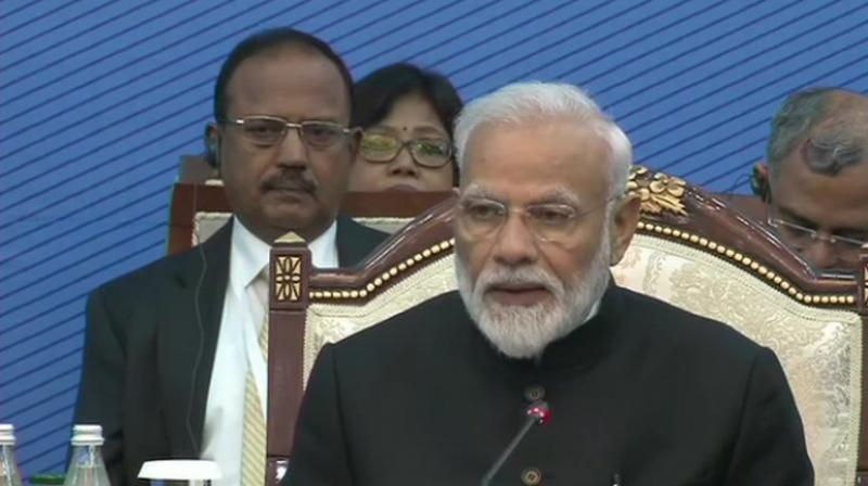 PM Narendra Modi addressing the SCO summit in Bishkek. (Photo: ANI)