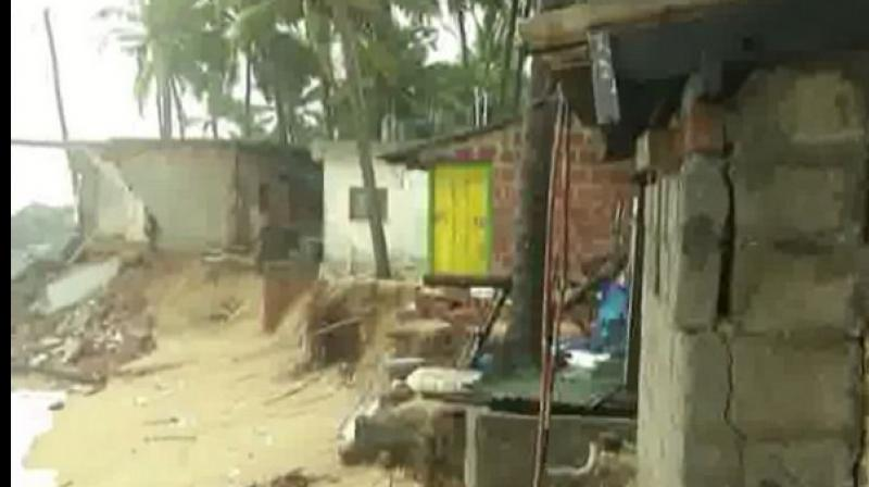 Around 15 houses face damage in Ullal city. (Photo: ANI)