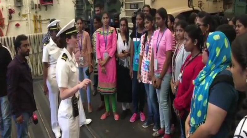 Students visit USS John Murtha from Vizag. (Photo: ANI)