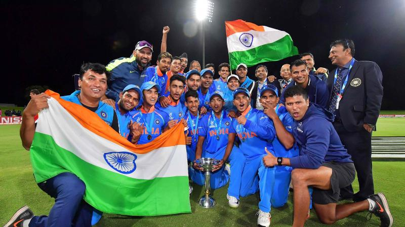 India lifted their record fourth World Cup trophy as they chased 217-run target posted by Australia in just 38.5 overs, with the help of Manjot Kalra's magnificent unbeaten knock of 101 runs. (Photo: AFP)
