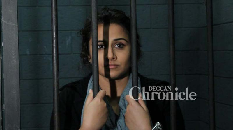 Vidya Balan was snapped by shutterbugs in a special photoshoot in a makeshift jail to promote her film 'Kahaani 2: Durga Rani Singh'. (Photo: Viral Bhayani)