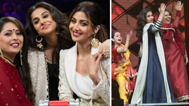 Vidya Balan visited the sets of the reality show 'Super Dancer' where she was seen bonding with Shilpa Shetty Kundra and contestants on the show on Wednesday.