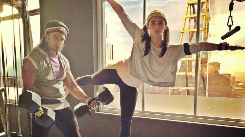 Ranveer Singh and Alia Bhatt in a workout. (Photo: Instagram)