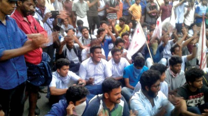 Kerala student union organised a protest against the fee hike in medical courses, in Thiruvananthapuram on Monday. (Representational Image)