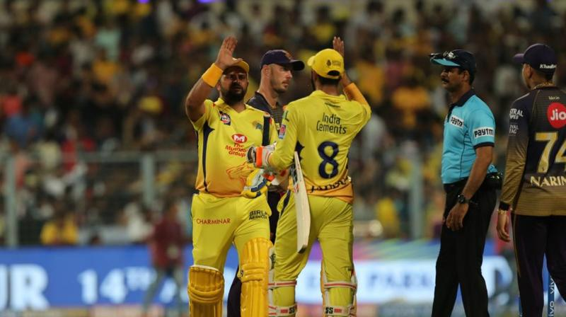 Ravindra Jadeja came out to bat and started hammering boundaries along with Raina, highest run-scorer for CSK scoring 58 and put his team on a comfortable position to clinch their seventh victory in the season.. (Photo: BCCI)