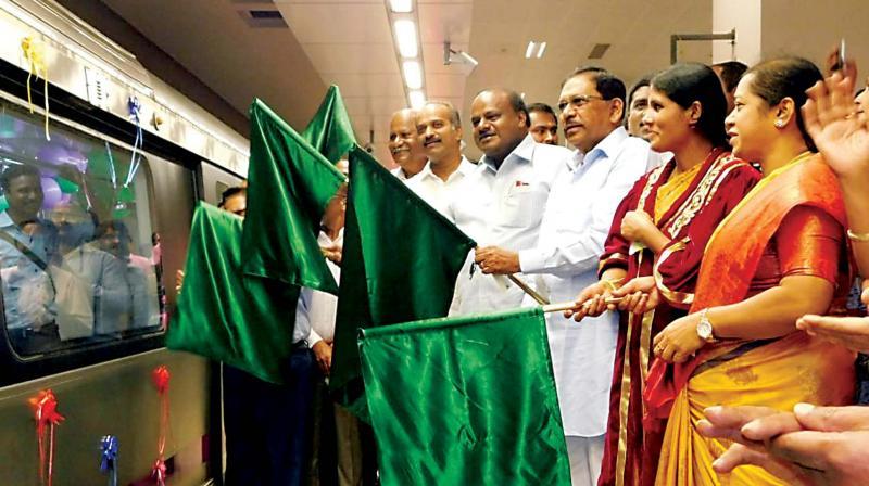 CM H.D. Kumaraswamy flagged off six-car Metro trains along the Purple Line on Oct. 4    Image; KPN