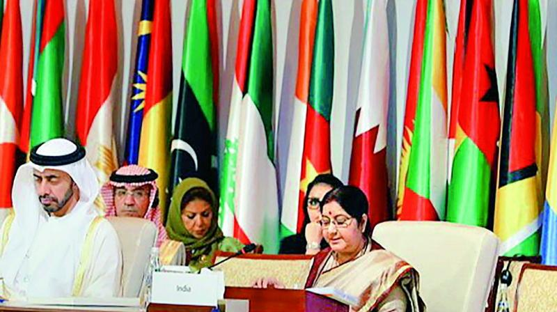 External affairs minister Sushma Swaraj speaks at the 46th Foreign Ministers Meeting of Organisation of Islamic Cooperation in Abu Dhabi on Friday.  (Photo:PTI)