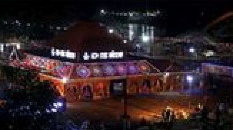 Aluva Manalppuram lighted up on the eve of Sivaratri on Thursday. (Photo:  DC)