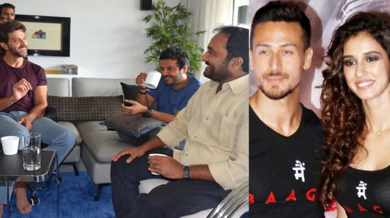 Hrithik Roshan with director Vikas Bahul and 'Super 30' teacher Anand Kumar, Tiger Shroff and Disha Patani at 'Baaghi 2' event.