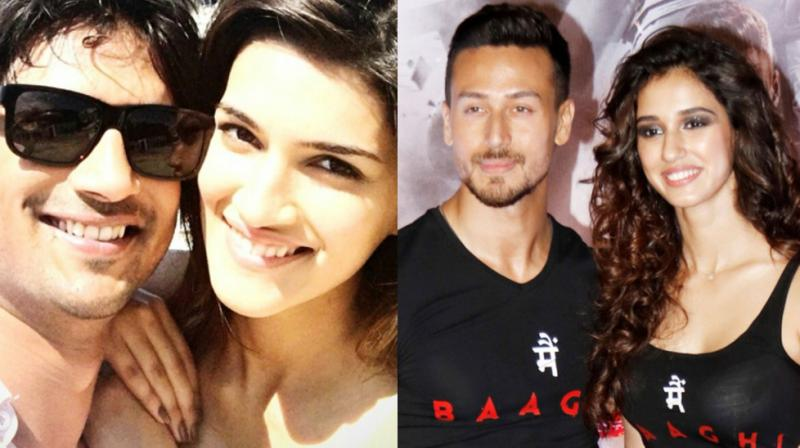 Kriti Sanon with Sushant Singh Rajput, Tiger Shroff and Disha Patani.
