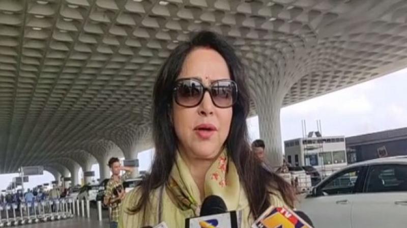 BJP MP Hema Malini who will be attending Modi's oath-taking ceremony in the national capital on Thursday evening. (Photo: ANI)