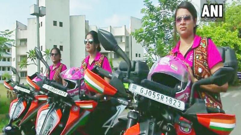 Three women bikers belonging to the group 'Biking Queens' from Surat are set to embark on a biking expedition from India to London, covering over 25 countries of three continents - Asia, Europe and Africa. (Photo: ANI)