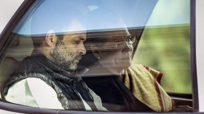 In this file photo dated Tuesday, Feb. 11, 2020, Congress President Sonia Gandhi and Rahul Gandhi leaves Parliament House after attending proceedings during the Budget Session, in New Delhi. PTI Photo
