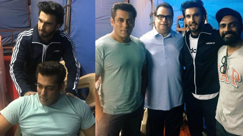 Ranveer Singh with the team of 'Race 3' including Salman Khan, Ramesh Taurani and Remo D'Souza.