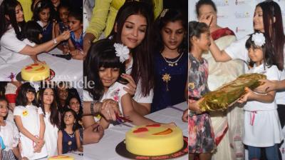 Aishwarya Rai Bachchan celebrated her father Krishnaraj Rai's birth anniversary with kids from an NGO on Monday. (Photo: Viral Bhayani)