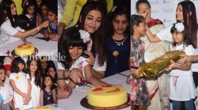 Aishwarya Rai Bachchan celebrated her father Krishnaraj Rai's birth anniversary with kids from an NGO on Monday. (Photo: Viral Bhayani)