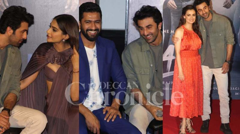 Ranbir Kapoor, along with Sonam Kapoor, Vicky Kaushal, Dia Mirza and others, was all smiles as they unveiled the trailer of 'Sanju' at an event on Wednesday.