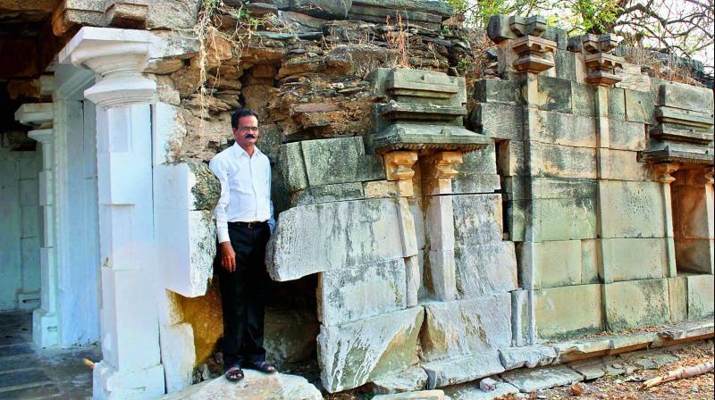 Cultural centre of Vijayawada and Amaravati CEO E. Sivanagi Reddy at the 13th century Kakatiya temple in Prakasam district on Monday. (Photo: DC)