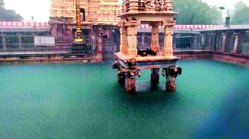Due to heavy rains in the past two days, the Sri Mahanandeeswara Swami temple at Mahanandi of Kurnool was flooded (Photo: DC)
