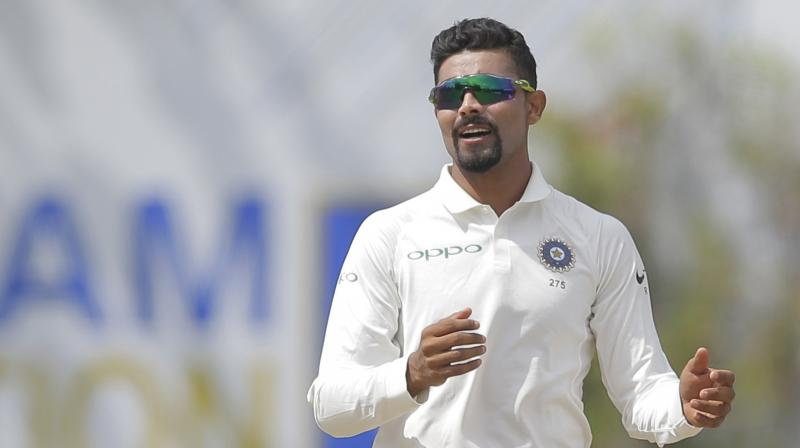Ravindra Jadeja also showed the demonic side of his game, when he hurled the ball at Sri Lankan batsman Dimuth Karunaratne while fielding off his own bowling, an action that was deemed dangerous by the ICC Elite Panel of Umpires. (Photo: AP)
