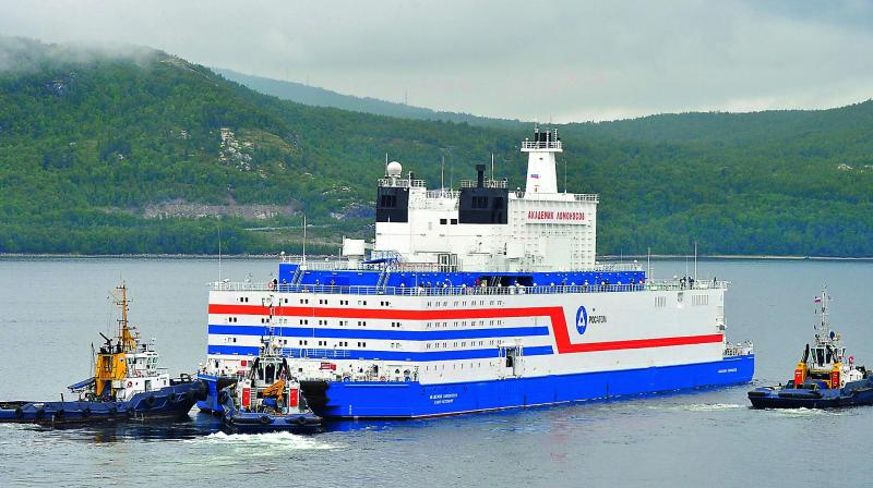 Floating power unit (FPU) Akademik Lomonosov being towed from the Arctic port of Murmansk. (File pic)