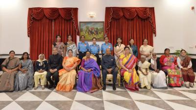 President Ram Nath Kovind sits for a picture with the awardees of the Nari Shakti Puraskar on March 8, Internationoal Women's Day. )PTI)