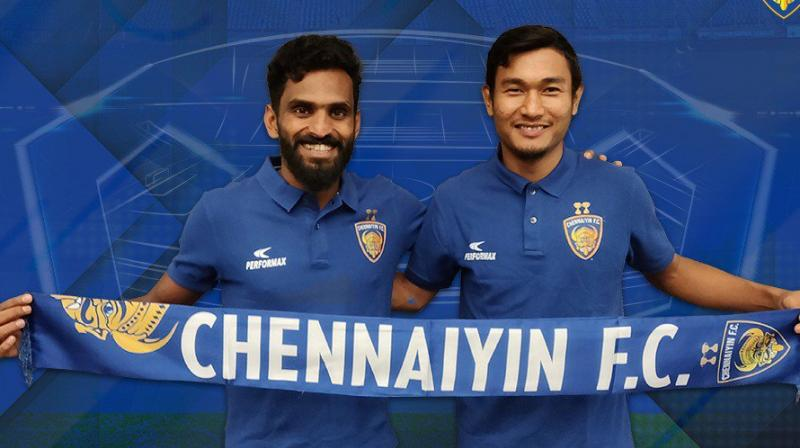 ISL team Chennaiyin FC Thursday announced the signing of forward C K Vineeth and winger Halicharan Narzary from Kerala Blasters on loan deals till the end of the ongoing season. (Photo: Twitter / Chennaiyin FC)
