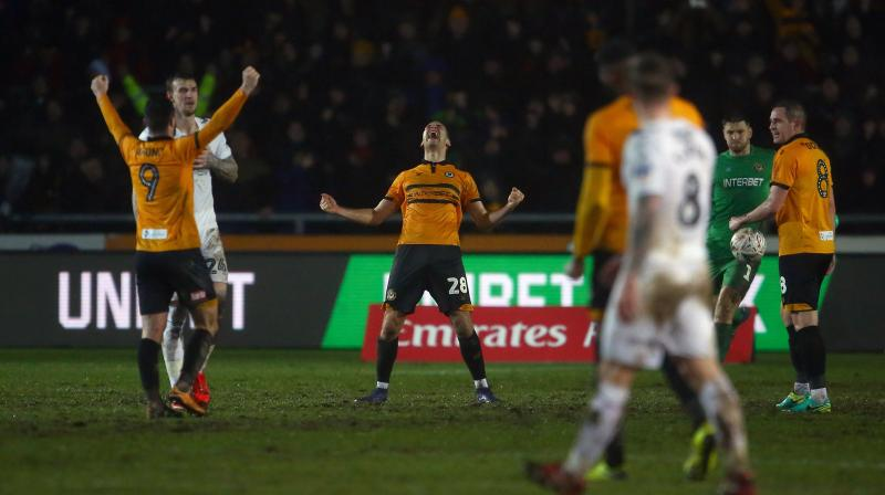 Fourth-tier Newport County pulled off another FA Cup shock by beating Championship side Middlesbrough 2-0 in a fourth-round replay on Tuesday to set up a dream tie with Manchester City. (Photo: AFP)