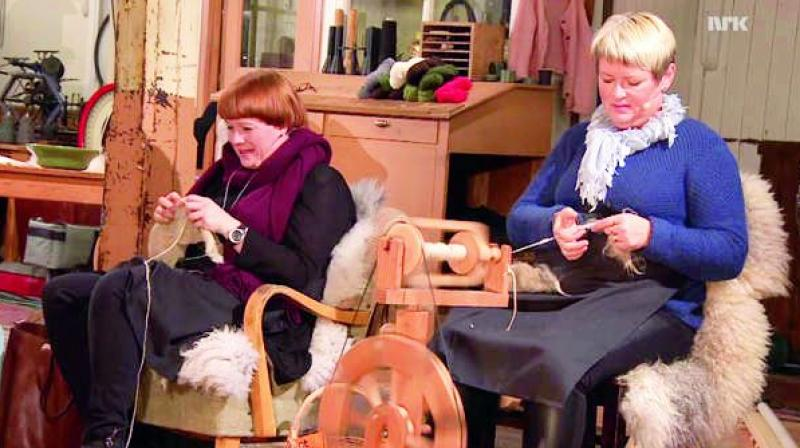 A 13-hour broadcast called National Knitting Night opened with scenes of shearing sheep and closed with people knitting sweaters.