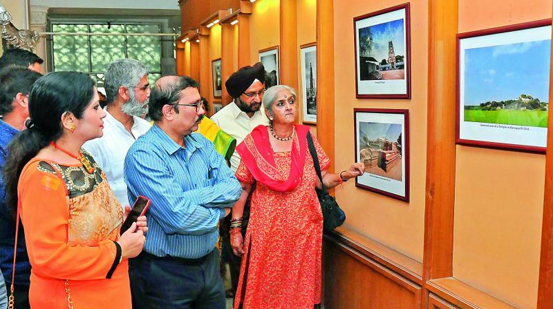 P. Anuradha Reddy, president, INTACH, Hyderabad Chapter, along with visitors at an ongoing photo exhibition at the Salar Jung.