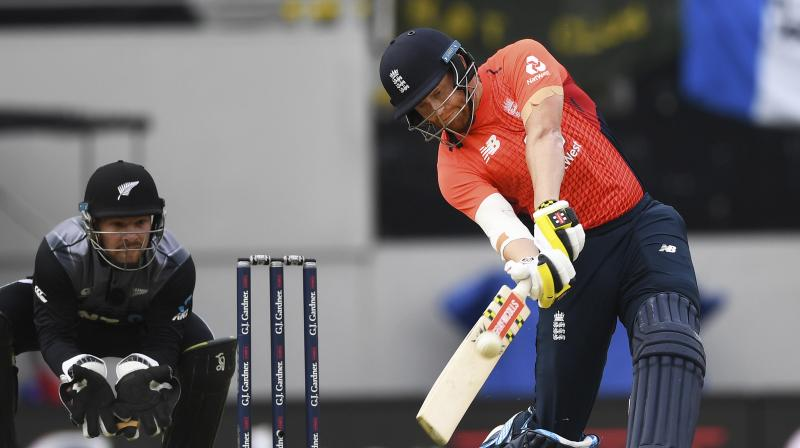 Jonny Bairstow and captain Eoin Morgan took 17 runs from England's Super Over, bowled by New Zealand captain Tim Southee, before Martin Guptill, Tim Seifert and Colin de Grandhomme managed only eight from New Zealand's single over. (Photo:AP)