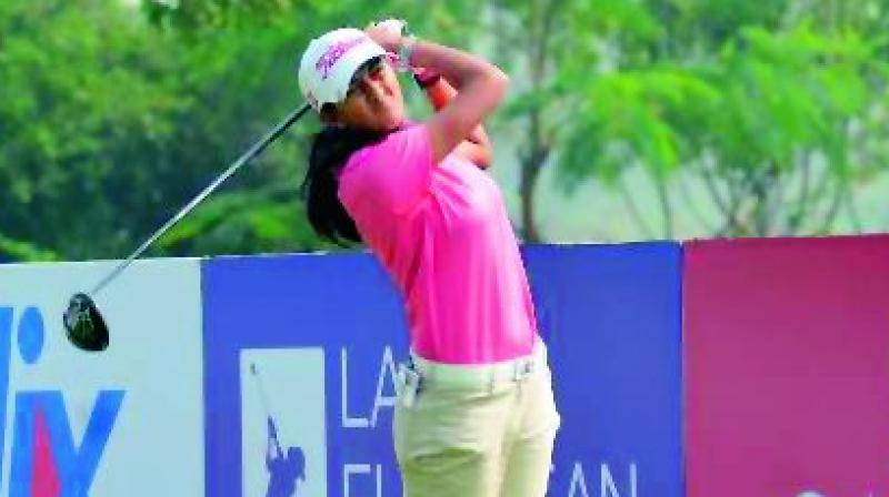 Aditi Ashok in action on Day two of the Hero women's Indian Open at the DLF Golf and Country Club in Gurgaon on Saturday.