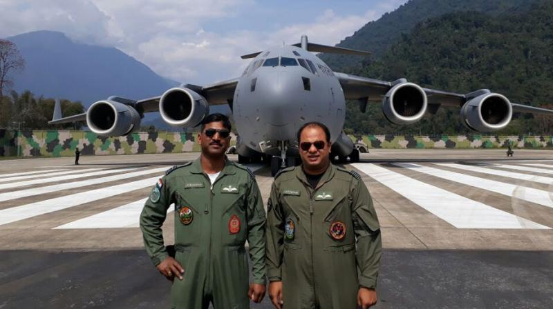 Indian Air Force's C-17 Globemaster aircraft landed on Arunachal Pradesh's Tuting airfield. (Photo: ANI)