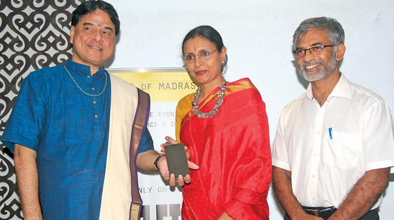 L to R: Vocalist O.S. Arun and danseuse Priyadarsini Govind with K. Kalyana Sundaram, founder of Music of Madras app