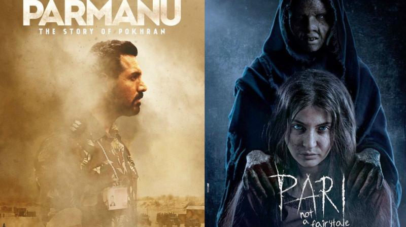 John Abraham on 'Parmanu' poster, Anushka Sharma in 'Pari' poster.