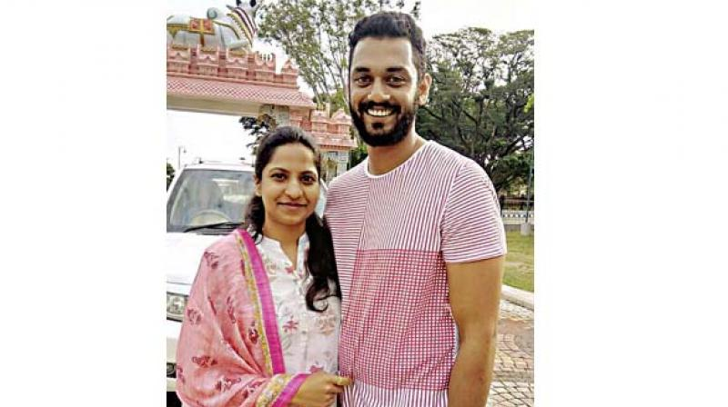 The victim of the IISc blast Manoj Kumar with his wife Anusha T., a software engineer in a private company in Bengaluru who were married 13 months ago